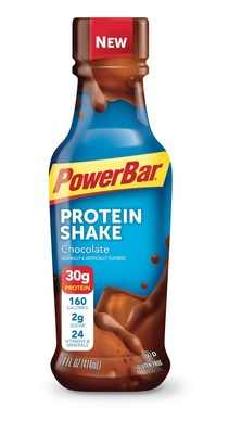 New PowerBar Protein Shake made with 30g of protein and 2g of sugar, used for rebuilding muscle, meals and snacks.