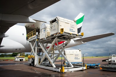 "Horses bound for the Rio 2016 Olympic games are loaded onto an Emirates SkyCargo Being 777-F at London Stansted Airport. On the flight were 34 horses from 10 of the nations competing in Equestrian at Rio 2016"" (FEI/Jon Stroud media) (PRNewsFoto/FEI)"