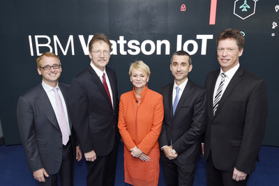 IBM, joined by top European clients, opens its Watson Internet of Things (IoT) global headquarters in Munich, Germany for the cognitive era.  [From left to right] David Kenny, CEO, The Weather Company; John Kelly, senior vice president, Solutions Portfolio and Research, IBM; and Harriet Green, general manager, IBM IoT & Education; Laurent Martinez, SVP, Head of Services Business Unit, Airbus; and Matthias Rebellius, CEO, Siemens Building Technologies.