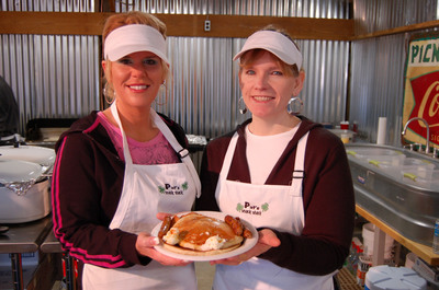 More than 6,000 pancakes with 100% pure Burton's Maplewood Syrup are served at the National Maple Syrup Festival in Medora, Ind.  (PRNewsFoto/National Maple Syrup Festival)