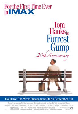 Forrest Gump Celebrates 20th Anniversary With Exclusive One-Week IMAX(R) Release On Sept. 5 (PRNewsFoto/IMAX Corporation) (PRNewsFoto/IMAX Corporation)