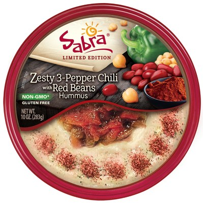 Sabra Introduces New Zesty 3-Pepper Chili with Red Beans Hummus.