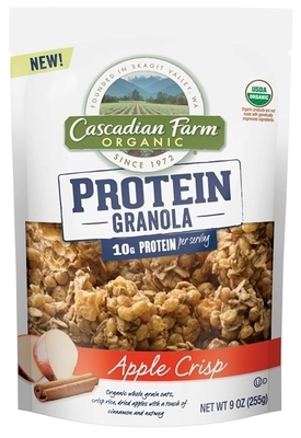 Cascadian Farm announced today the launch of its new Protein Granola, the first organic pea protein granola to come to market, in two flavors -- Dark Chocolate Coconut and Apple Crisp. (PRNewsFoto/Cascadian Farm)