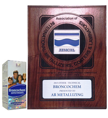 2015 AIMCAL Award Winner - Bronochem presented to AR Metallizing