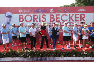 Boris Becker launching the Accreditation Programme with Dr. Ken Chu, Chariman of Mission Hills Group (Line 1, Left 3) ; Mr.Tenniel Chu,Vice Chairman of Mission Hills Group (Line 1, Right 4), Dan Thorp(Line 1, Right 3), LTA's Head of C...<br /><br />Source : <a href=