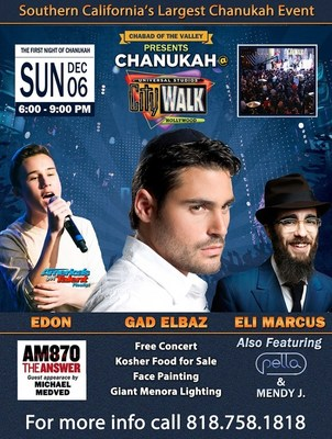 Chabad of the Valley Announces Top Line-Up for Its 14th Year Celebrating Chanukah at Universal
