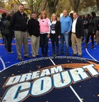 From L-R: Scott Daniels, Sport Court International; Brad Gherke, Sport Court International; WNBA star Nancy Lieberman; WorldVentures Foundation Operations and Events Manager Emilie Thomas; Pat Walker, Sport Court International and Sport Court Director of Distribution Sales Joe Ure at the Chicago DreamCourt opening on Tuesday, October 28.