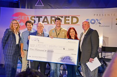 Drytunes wins Get Started NOLA and accepts the check with Inc.'s Kris Frieswick, Voodoo Venture's Chris Schultz, Fleurty Girl's Lauren Thom and Cox Business' Steve Rowley.