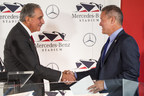 Arthur Blank, owner of the Atlanta Falcons NFL team and Major League Soccer's Atlanta United, and Stephen Cannon, president and CEO of Mercedes-Benz USA, celebrate the unveiling of Mercedes-Benz Stadium on Monday, August 24, in Atlanta, Ga. Mercedes-Benz Stadium will be home to the Atlanta Falcons and the new Atlanta United FC when it opens in 2017. (Mercedes-Benz USA/Paul Abell) Arthur Blank, Steve Cannon (KEY PHOTO)