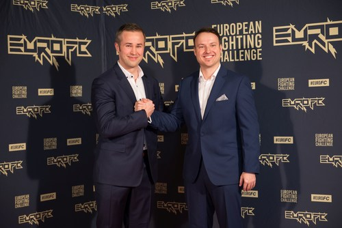 (on the left) Jarno Kukila, CEO of European Fighting Challenge and (on the right) Tim Leidecker, VP of Talent Relations of European Fighting Challenge are all smiles in Berlin at the launch event of the first All European MMA promotion (PRNewsFoto/European Fighting Challenge)