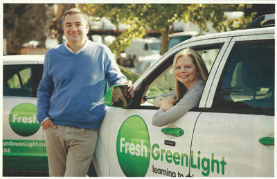 Founders Steve Mochel and Laura Shuler of Fresh Green Light Franchise Partners, the driving school franchise that's reinventing Driver's Ed.  (PRNewsFoto/Fresh Green Light)