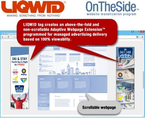 LIQWID OnTheSide(TM) program lets publishers to earn money with display advertising based on 100% viewable ads.