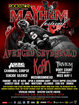 The ROCKSTAR ENERGY DRINK MAYHEM FESTIVAL Announces Official 2014 Artist Line-Up.  (PRNewsFoto/Live Nation Entertainment)