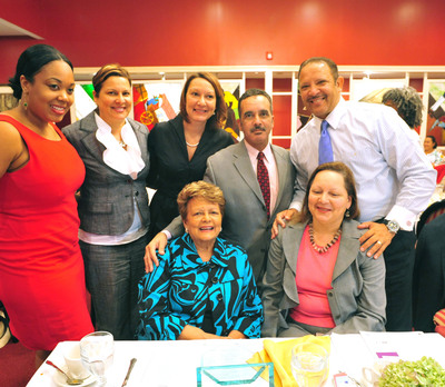 Sybil Haydel Morial honored as New Orleans Feeding Dreams Outstanding Mom at the historic Dooky Chase's Restaurant.  Celebrating this honor with her is Iman Johnson from General Mills  and her five children, Cherie Morial Ausberry, Honorable Monique Morial, Jacques Morial, NUL President Marc Morial and  Dr. Julie Morial Cruz. (City: New Orleans; Source: SMSi).  (PRNewsFoto/General Mills)