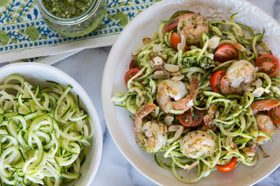 For Your Pinterest-Perfect Summer Party: Chef Gaby Dalkin's Zucchini Noodles and Grilled Shrimp, Made With Almonds (PRNewsFoto/California Almonds)
