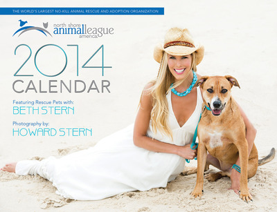 North Shore Animal League America spokesperson, volunteer and foster parent Beth Stern and her husband Howard Stern have generously donated their time and love in support of creating a one-of-a kind 2014 calendar showcasing the adorable canines and felines that can be found in local shelters. With each turn of the calendar page, animal lovers are welcomed by beautiful and colorful images of Beth and many adoptable and lovable Animal League America rescue pets, known as Mutt-i-grees(R), photographed in a variety of gorgeous settings by Howard Stern. Go to animalleague.org to purchase.  (PRNewsFoto/North Shore Animal League America)