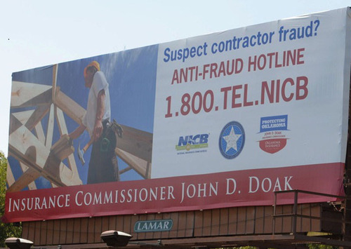 Oklahoma Insurance Department and NICB Use Billboards to Warn of Contractor Fraud