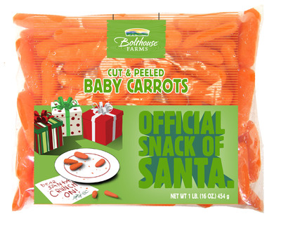 """Bolthouse Farms' cut and peeled baby carrots will be repackaged this December as the """"Official Snack of Santa"""" and sold at WalMart stores nationwide.  (PRNewsFoto/Bolthouse Farms)"""