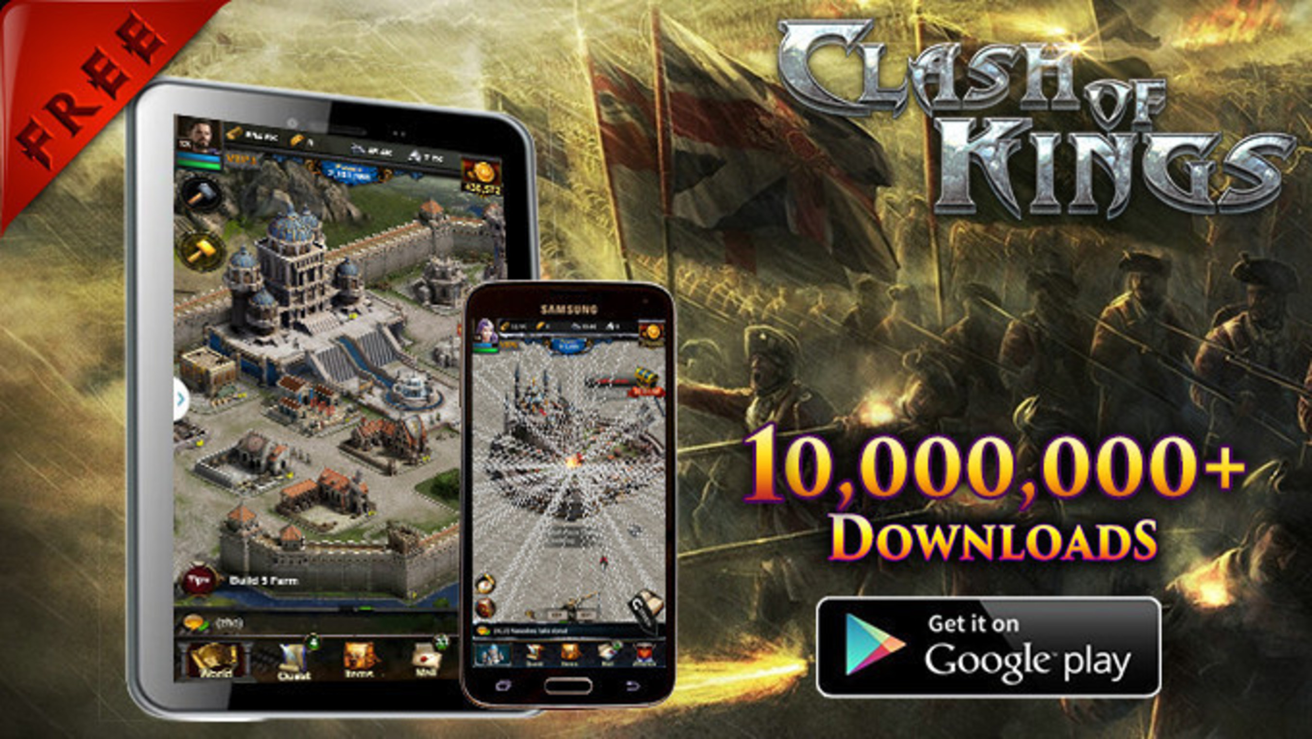 Mehr als 10 Millionen Downloads von Clash of Kings auf Google Play