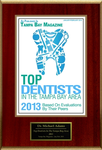 "Dr. Michael J. Adams Selected For ""Top Dentists In The Tampa Bay Area 2013"" (PRNewsFoto/American ..."