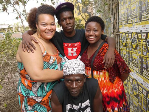 Raw Material's FLOetic Lara (left) and Tagz Chambers (right) with local Senegalese musicians at Festa2h ...