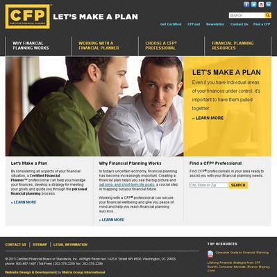 Screen shot of CFP Board's new consumer website, www.LetsMakeaPlan.org.