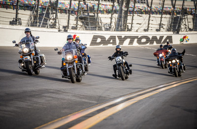 Karen Davidson, great-granddaughter of the company co-founder, riding a 2016 CVO Pro Street Breakout, leads a group of military personnel and first responders on an honorary lap around Daytona International Speedway on Thursday, March 10 in Daytona Beach, Fla., for the 75th Annual Daytona Bike Week. Throughout 2016, Harley-Davidson is offering all current and former U.S. military and first responders to learn to ride for free through Harley-Davidson's Riding Academy program.