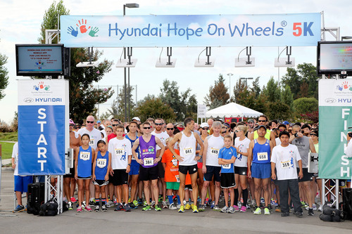The crowd of racers at the starting line during the Hyundai Hope On Wheels 5K to benefit CHOC Children's Hospital and pediatric cancer held at the Fountain Valley Sports Park on Saturday, August 31, 2013, in Fountain Valley, Calif. (Photo by Ryan Miller/Capture Imaging).  (PRNewsFoto/Hyundai Hope On Wheels)