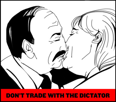 Belarusian Organization Calling on Germany to Expand Sanctions Against Belarus with a series of cartoons. Germany is one of Belarus's largest trading partners despite existing EU sanctions against the Lukashenko regime.  (PRNewsFoto/Belarusians in Exile)