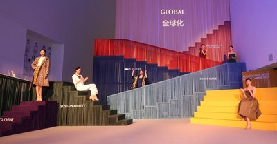 """Central Academy of Fine Arts display in Beijing used an array of Alcantara(R) materials to wrap six """"rainbow"""" staircases."""