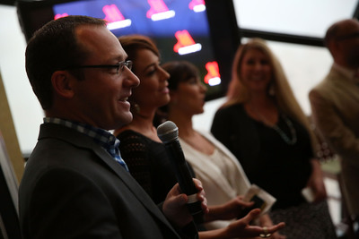 """Matthew Carroll from Marriott Hotels and Shira Lazar from """"What's Trending"""" Celebrate """"Travel Brilliantly"""" Campaign with Evening of Innovation.  (PRNewsFoto/Marriott International, Inc.)"""