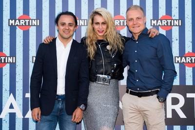 Williams MARTINI Racing drivers Felipe Massa and Valtteri Bottas join Alice Dellal as she's announced the 2016 MARTINI Race Photographer at the Terrazza MARTINI in Barcelona (PRNewsFoto/MARTINI)