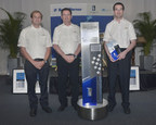 Standing with the new Louis Schwitzer Award trophy (left to right) were award winners Charles Ping, Project Manager, Race Operations, Pratt & Miller Engineering; Chris Berube, Program Manager, Chevrolet Racing; and Arron Melvin, Chief Aerodynamicist, Pratt & Miller Engineering. (Not shown: Mark Kent, Director of Motorsports Competition, Chevrolet Racing.) Symbolizing the spirit of innovation, the new Louis Schwitzer Award trophy debuted at the event, sporting the names of all award winners since 1967.