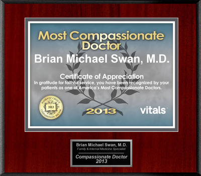 Patients Honor Dr. Brian Michael Swan for Compassion.  (PRNewsFoto/American Registry)