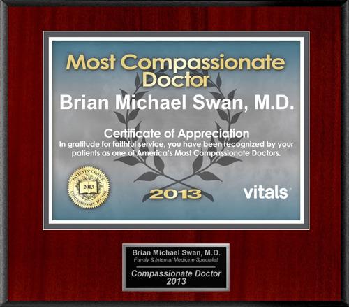 Patients Honor Dr. Brian Michael Swan for Compassion. (PRNewsFoto/American Registry) (PRNewsFoto/AMERICAN ...