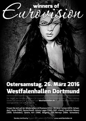 Live concert 'Winners of Eurovision' Saturday March 26, 2016, Westfalenhallen in Dortmund, Germany (PRNewsFoto/INC Records International) (PRNewsFoto/INC Records International)