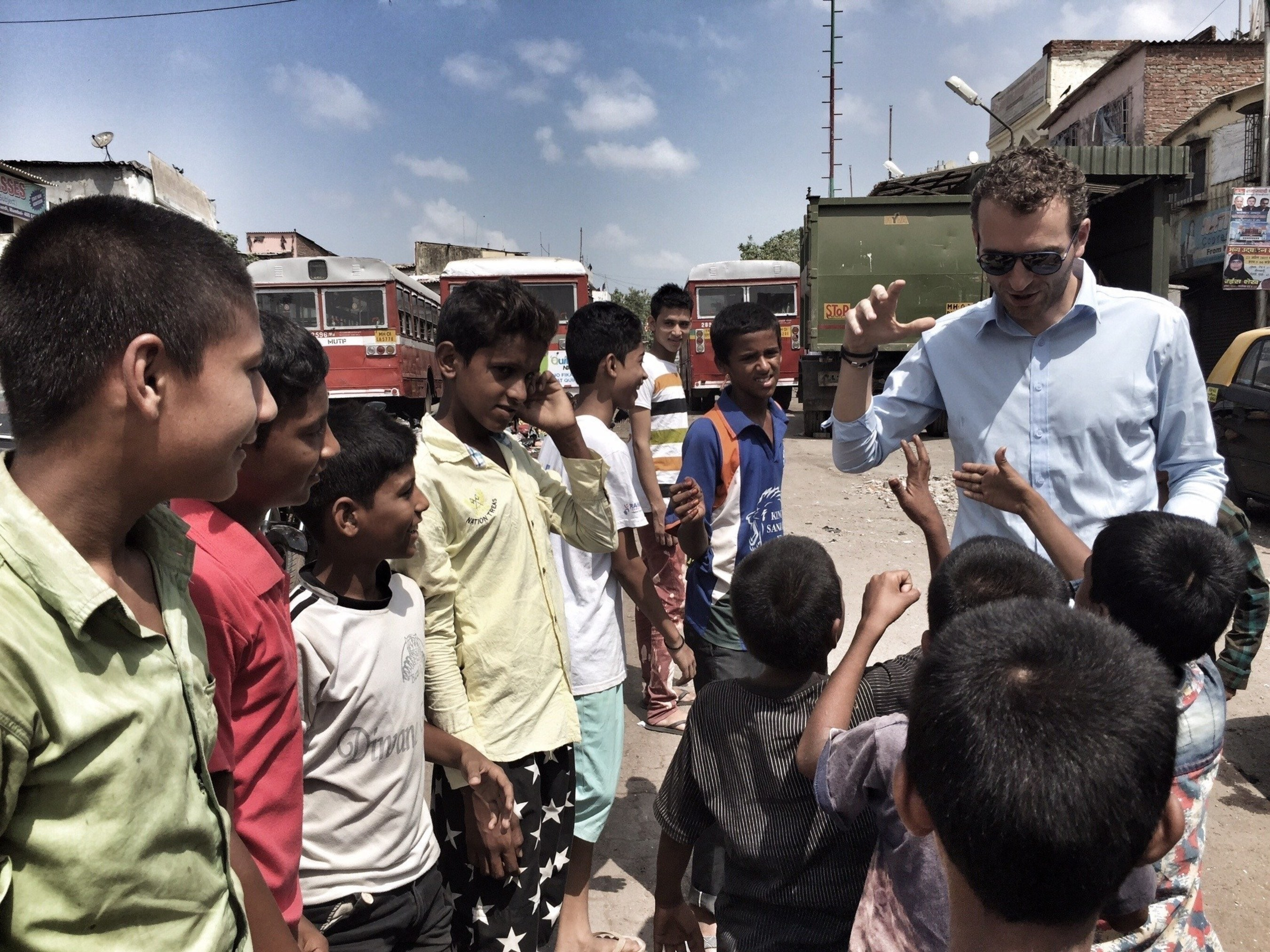 CEO and Founder of Epic Foundation, Alexandre Mars, meets with youth in Mumbai during Epic Foundation's global selection tour