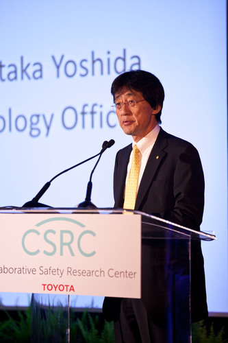 Moritaka Yoshida, Toyota Chief Safety Technology Officer opening remarks at the Toyota Safety Research Forum in Washington DC on September 12, 2012.  (PRNewsFoto/Toyota)