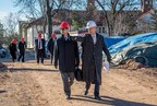 Montclair State University's Dean Gurskis and Sony's Shigeki Ishizuka touring the site of the University's new School of Communication and Media building