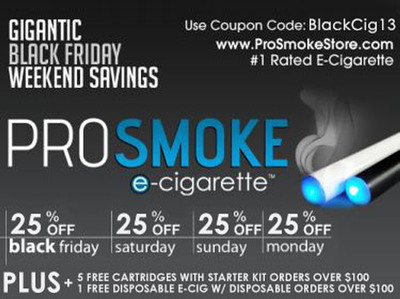ProSmoke Electronic Cigarettes Offers 25% Off Everything For Black Friday And Cyber Monday