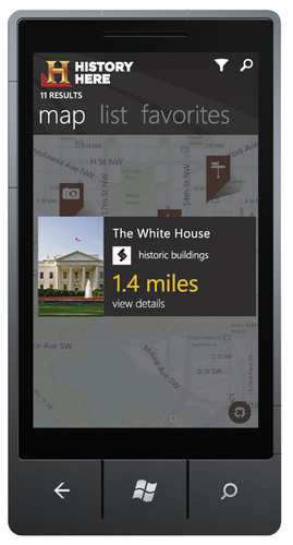 HISTORY HERE app for Windows Phone 7.  (PRNewsFoto/AETN Digital Media)