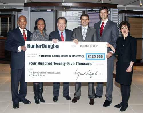 Hunter Douglas announced that it has donated a total of $425,000 to two nonprofits - The New York Times Neediest Cases Hurricane Sandy Relief Effort and Team Rubicon - to help relieve the suffering and aid the recovery of those most in need following Hurricane Sandy.  President and CEO Marv Hopkins presented the check to Desiree Dancy, VP of The New York Times Neediest Cases Fund, and Team Rubicon Co-Founders Jake Wood, President, and William McNulty, VP.  From left to right, Gordon Khan, Hunter Douglas SVP and CFO; Desiree Dancy; Marv ...