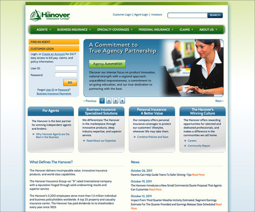 QUICK AND EASY ACCESS FOR AGENTS AND CUSTOMERS: The Hanover's new website at www.Hanover.com provides a rich user experience and online tools that help agents and consumers find what they need quickly and easily while providing a best-in-class visual presentation.  (PRNewsFoto/The Hanover Insurance Group, Inc.)