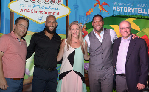U.S. Men's National Soccer Team goalkeeper Tim Howard and Michael Strahan, co-host of LIVE with Kelly and Michael and Good Morning America, analyst for Fox NFL Sunday and pro football Hall of Famer, were among the speakers at Experian Marketing Services' 2014 Client Summit in Las Vegas July 23-25, 2014. Pictured left to right: Matt Seeley, president, North America, Experian Marketing Services; Tim Howard; Ashley Johnston, senior vice president of global marketing, Experian Marketing Services; Michael Strahan; Mike DeVico, group ...