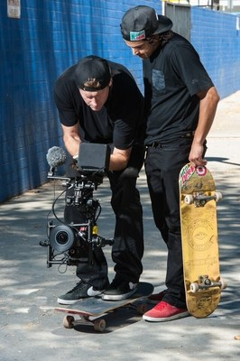 Director Ty Evans and professional skateboarder Paul Rodriguez review footage on the set of WE ARE BLOOD, a film produced by Mtn Dew Green Label Films in association with Brain Farm that celebrates the universal bond created by the simple act of skateboarding.
