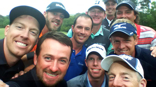 Team RBC golfers gathered in Hilton Head at the RBC Heritage to launch #RBCGolf4Kids, an online challenge designed to raise money and awareness for children's charities. They marked the occasion with a group selfie - dubbed the 'golfie' - including Hunter Mahan, Graeme McDowell, David Hearn, Jim Furyk (left to right, front row); Graham DeLaet, Mike Weir, Luke Donald (left to right, second row); Brandt Snedeker, Stephen Ames (left to right, third row); Matt Kuchar (back row).  (PRNewsFoto/RBC)