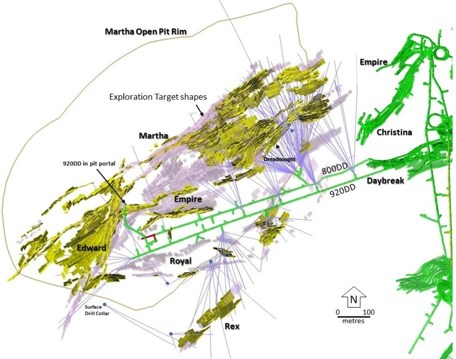 Figure 2 – Plan View showing holes drilled from August 2017 to January 2019 within the Martha vein system and the dominant targeted veins. Pink = Main Target Areas, Yellow = Current Martha Underground Resource Areas, Green = Recent and Current Mining Areas.