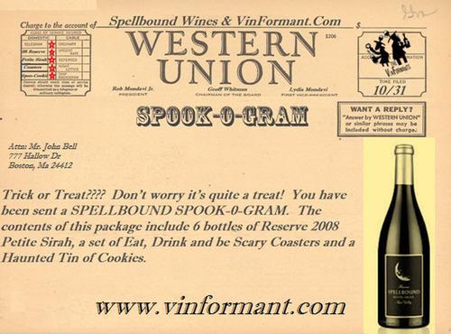 """Rob Mondavi Jr. Spellbound """"Spook-O-Gram"""". (PRNewsFoto/VinFormant.com) (PRNewsFoto/VINFORMANT.COM)"""