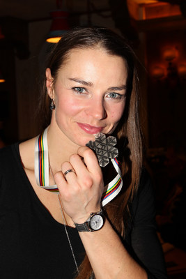 "Decorated skier Tina Maze displays her Silver Medal from the 2015 FIS World Ski Championships Super G Race and launches the new ladies ""Comtesse"" collection for Swiss sporting watch brand, Alpina"