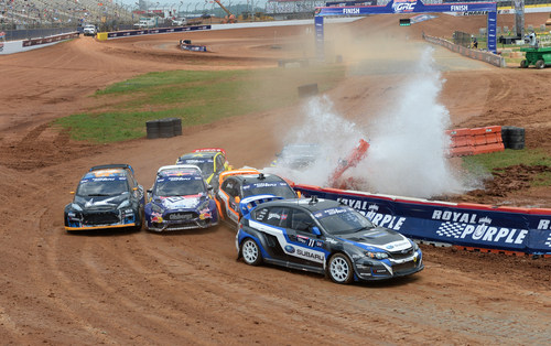 Strong starts from Subaru Drivers Isachsen and Lasek helped them avoid contact in turn two at Red Bull  GRC Charlotte. (PRNewsFoto/Subaru of America, Inc.)
